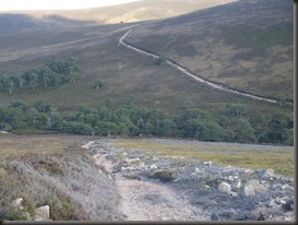 the shallow part of the long climb to Cock Cairn